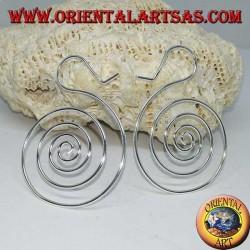 Boucles d'oreilles en fil d'argent en forme de spirale (grande)