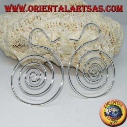 Spiral-shaped silver wire earrings (large)