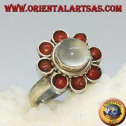 Серебряное кольцо с белым голубым флуоресцентным лабрадоритом (большое)