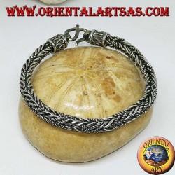 Bracelet en argent avec une tresse mixte à section carrée