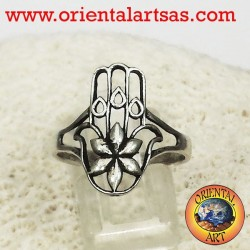 Ring of fatima hand with silver flower