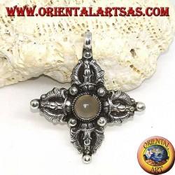 Ciondolo in argento (925 ‰) Vajra Dorje Tibetano con pietra di luna al centro