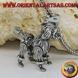 Ciondolo in argento il cane il barboncino mobile (muove le zampe, la testa e la coda)