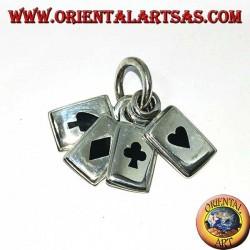 Silberanhänger die 4 Achsen (Ass der Diamanten, Ass der Blume, Ass des Rosas und Ass des Herzens)