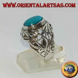 Silver ring hand-carved floral motifs with oval turquoise