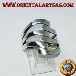 Anello in argento a tre onde su tre liscio
