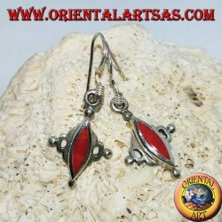 Silver earrings with shuttle coral paste
