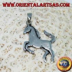 Silberanhänger grassierendes Pferdesymbol Ferrari (flach)