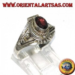 Silver box ring with faceted oval garnet (poison holder), small