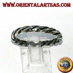 Anello in argento a due fili arrotolati su se stesso