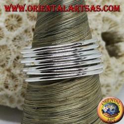 Bague en argent avec sept anneaux à fils parallèles