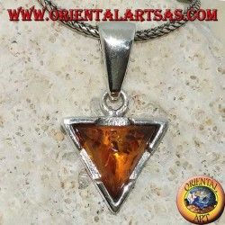 Triangular silver pendant with natural triangular amber