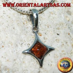 Diamond-shaped silver pendant with convex sides with square amber