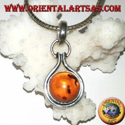 Silver pendant with round amber semi-sphere and flush edge
