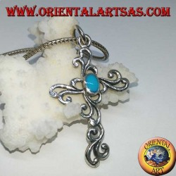 Silver floral cross pendant with oval turquoise paste
