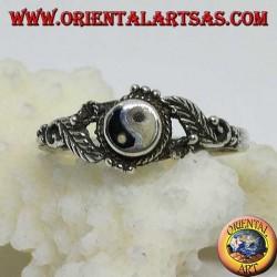 Silberner Yin Yang Tao (kleiner) Ring mit Blättern an den Seiten