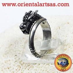 Anello Drago spirale in argento