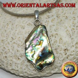 Silver pendant with an irregular shape and a beautiful paua shell (abalone)