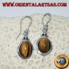 Silver pendant earrings with oval tiger eye on simple border