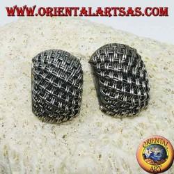 Silver lobe earrings handmade with intertwining threads