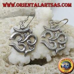 Silver earrings Om (ॐ) sacred syllable handmade in Nepal