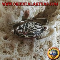 Double use revolving silver ring with oval carnelian or scarab