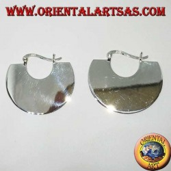 Boucles d'oreilles demi-lune plates en argent, (tribal)