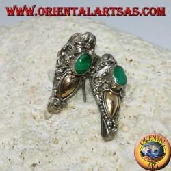 Orecchini in argento ad uncino testa di drago con foglia d'oro e malachite ovale