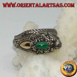 Silver ring with dragon's head with gold leaf and oval malachite, adjustable
