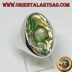 Silver ring with large oval abalone paua shell