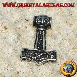 Silberanhänger Hammer von graviertem Thor, Mjolnir Wikinger