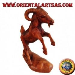Handmade wooden ram sculpture