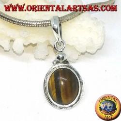Ciondolo in argento con Occhio di tigre ovale e bordo semplice