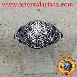 Silver ring Flower of life with Celtic knot