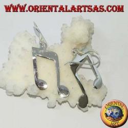 Orecchini in argento pendenti, doppia croma (musica)