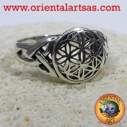 Blume des Lebens Ring mit keltischen Knoten Silber