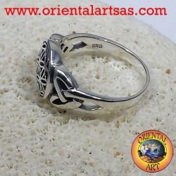 anello fiore della vita con nodo celtico in argento