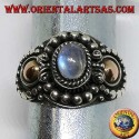 Handmade silver ring with rainbow moonstone (adularia) and gold applications