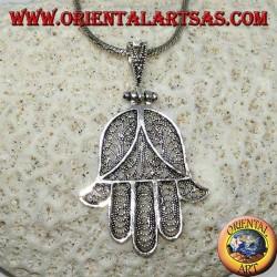 Ciondolo in argento, mano di Fatima o mano di Miriam Hamsa a filigrana (grande)