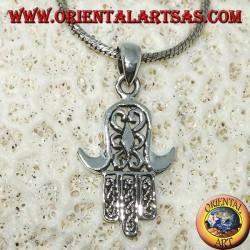 Pendant in silver 925 Mir hand of Miriam of Fatima Hamsa carved (medium)