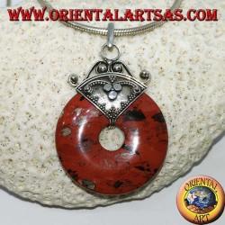 Pendentif en argent avec beignet en jaspe de pierre de sang de 30 mm, énergie spirituelle