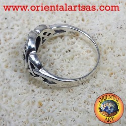 Flower of Life ring with Celtic knot silver