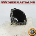 Silver ring, with large oval onyx surrounded by marcasite