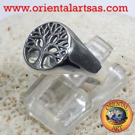 Anello albero della vita piatto in argento