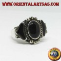 Silver ring, with an oval and two triangular onyx surrounded by marcasite