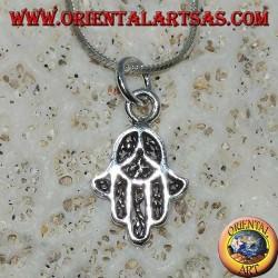 Silberanhänger, geformt wie die Hand von Fatima Hamsa klein