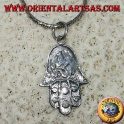 Ciondolo in argento mano di Fatima  Hamsa con allahu akbar abassorilievo