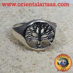 arbre de vie anneau plat d'argent