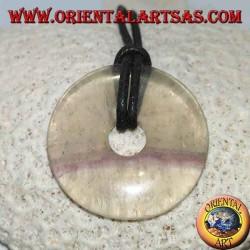 Ciondolo di fluorite a forma di ciambella da 35 mm. di diametro Ø completo cordoncino