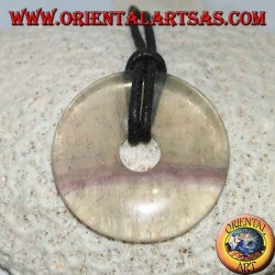 Fluorite pendant in the shape of a donut 35 mm. in diameter Ø complete cord
